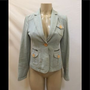 Marc Jacobs Size 2 Light Blue Denim Blazer Jacket